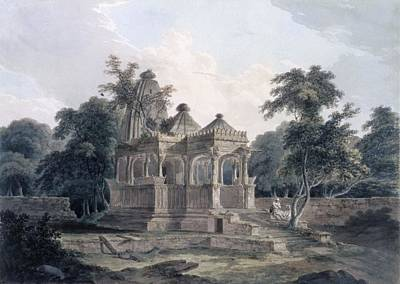 Religious Drawing - Hindu Temple In The Fort Of The Rohtas by Thomas & William Daniell