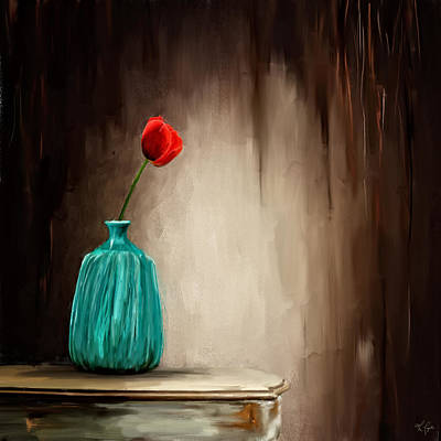 Blue And Red Painting - Hint Of Passion by Lourry Legarde
