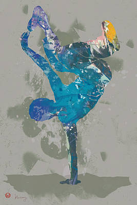 Hip Drawing - Hip Hop Street Dancing  Pop Art Poster  -  6 by Kim Wang