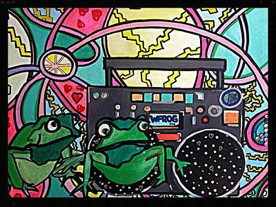 Boombox Painting - Hip Hoppin Frogs by M Gonzolo