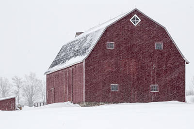 Photograph - Hip Roof Red Barn In Winter by Joann Long