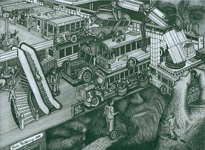 Drawing - Hippie Bus Apartments by Richie Montgomery