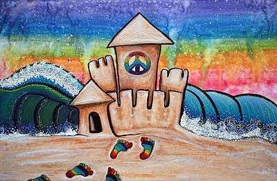 Myrtle Beach Painting - Hippie Sand Castle by Laura Barbosa