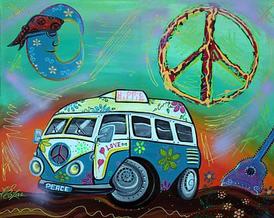 Guitar Painting - Hippie Trip by Laura Barbosa