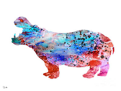 Hippopotamus Wall Art - Painting - Hippo 3 by Watercolor Girl