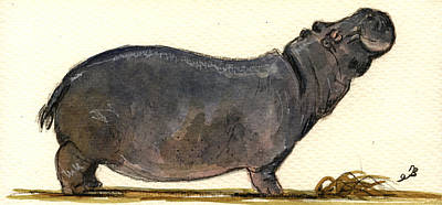 Hippopotamus Painting - Hippo Happy by Juan  Bosco
