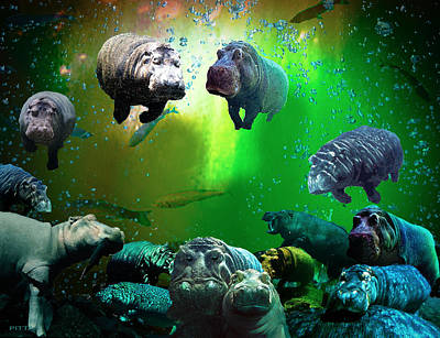Digital Art - Hippo Heaven by Michael Pittas