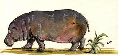 Hippo Wall Art - Painting - Hippo by Juan  Bosco
