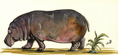 Hippo Art Print by Juan  Bosco