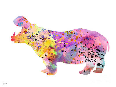 Hippopotamus Wall Art - Painting - Hippo  by Watercolor Girl