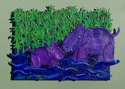 Hippopotamus Mixed Media - Hippo Nursery by Sarah Swift