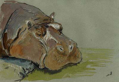 Fat Painting - Hippo Sleeping by Juan  Bosco