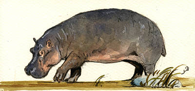 Africa Painting - Hippo Walk by Juan  Bosco