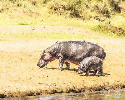 Hippopotamus Digital Art - Hippopotamus And Baby Mara River Kenya by Liz Leyden