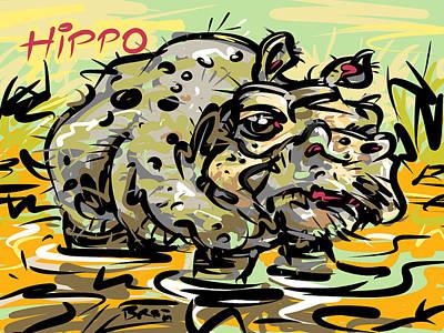 Hippopotamus Drawing - Hippopotamus by Brett LaGue