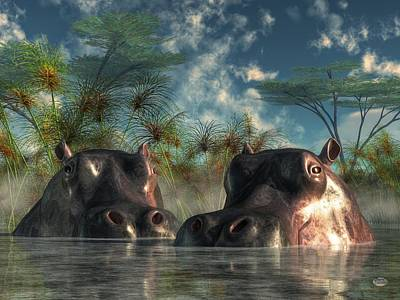 Hippos Are Coming To Get You Art Print by Daniel Eskridge
