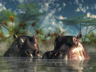 Hippopotamus Digital Art - Hippos Are Coming To Get You by Daniel Eskridge