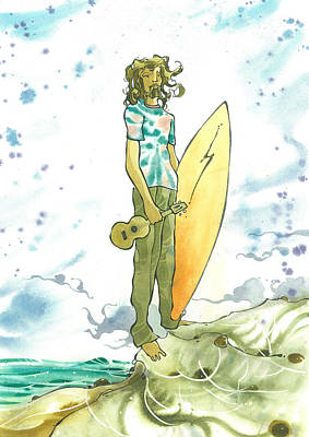 Surfing Art Painting - Hippy Surf by Harry Holiday