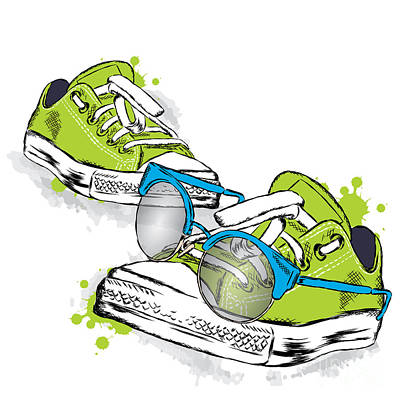 Beauty Wall Art - Digital Art - Hipster Sneakers With Glasses Vector by Vitaly Grin