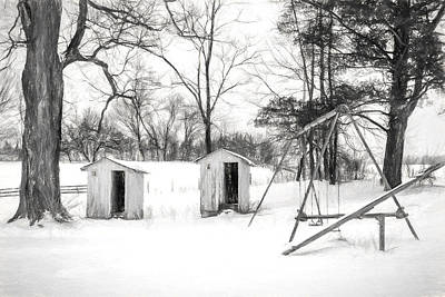 Western Snowfall Photograph - His And Hers - Charcoal  by Chris Bordeleau