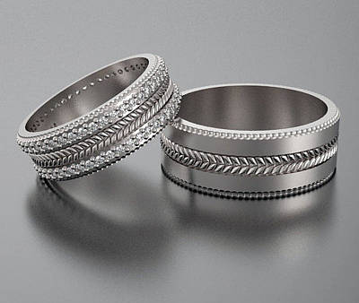 14k Jewelry - His And Hers Gold Wedding Band Set With Pave Set Sparkling Diamonds by Roi Avidar