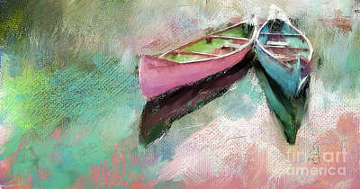 Canoe Digital Art - His And Hers by Lynne Alexander