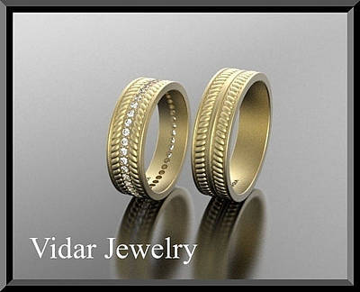 14k Jewelry - His And Hers Matching 14kt Yellow Gold Diamond Wedding Bands Set  by Roi Avidar