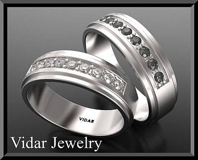 14k Jewelry - His And Hers Matching Black And White Diamond 14k Wedding Band Set by Roi Avidar