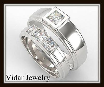 14k Jewelry - His And Hers Matching Diamond 14kt White Gold Wedding Band Set by Roi Avidar