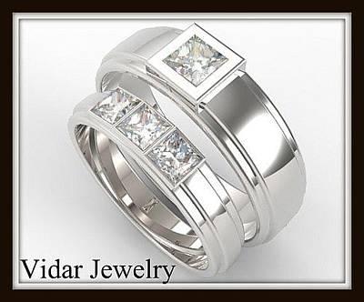 His And Hers Matching Diamond 14kt White Gold Wedding Band Set Original by Roi Avidar