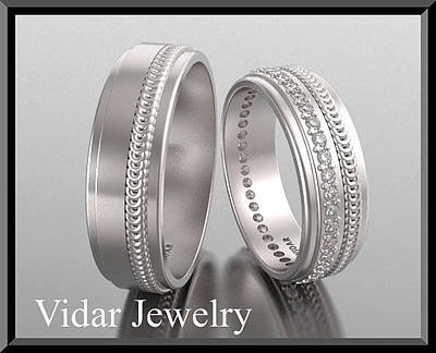 14k Jewelry - His And Hers Matching Diamond And 14kt White Gold Wedding Band Set by Roi Avidar
