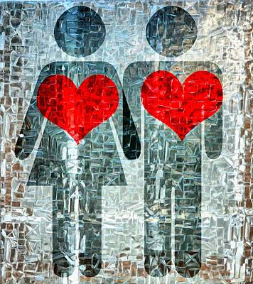 Share Mixed Media - His And Hers Strength Of Heart by Angelina Vick