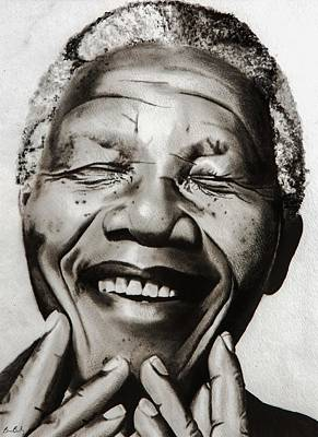 Hero Drawing - His Excellency Nelson Mandela by Brian Broadway