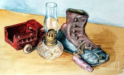 Cracker Jacks Painting - His Old Things by Cynthia Pierson