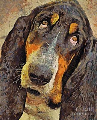 Dog Painting - His Soft Sad Look by Dragica  Micki Fortuna