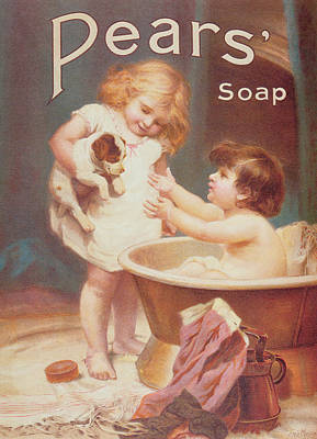 Bath Time Photograph - His Turn Next, From The Pears Annual by Emile Munier