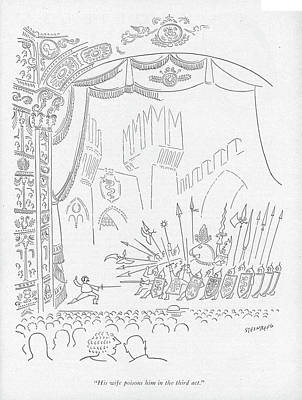 1951 Drawing - His Wife Poisons Him In The Third Act by Saul Steinberg
