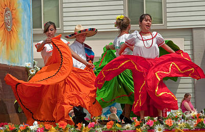 Hispanic Women Dancing In Colorful Skirts Art Prints Art Print