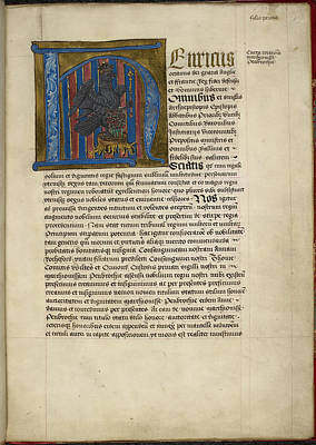 Historiated Initial 'h' Art Print by British Library
