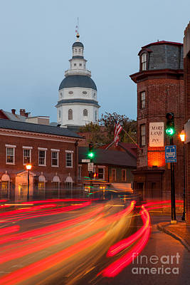 Photograph - Historic Annapolis And Evening Traffic I by Clarence Holmes