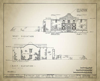 The Alamo Wall Art - Digital Art - Historic Building Survey - The Alamo by Bill Cannon