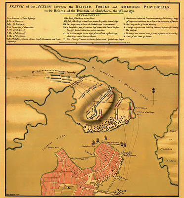 American Revolution Drawing - Historic Bunker Hill Battleground Map 1775 by Mountain Dreams