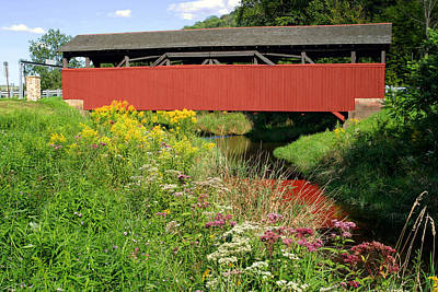 Photograph - Historic Buttonwood Covered Bridge In September by Gene Walls