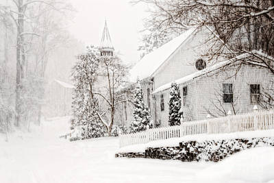 Art Print featuring the photograph Historic Church In Oella Maryland During A Blizzard by Vizual Studio