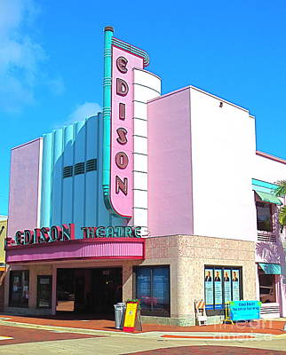 Deco Historic Edison Theater. Ft. Myers. Florida. Art Print by Robert Birkenes