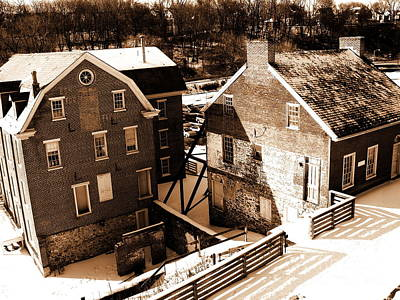 Photograph - Historic Flour Mill - Sepia - Colonial Industrial Quarter by Jacqueline M Lewis