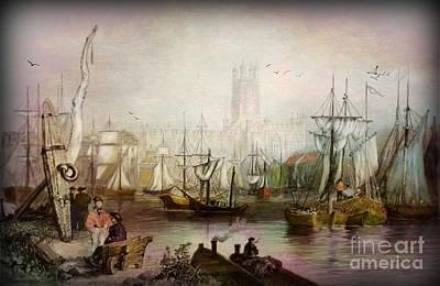 Historic Gloucester - Uk Circa 1840 Art Print by Lianne Schneider