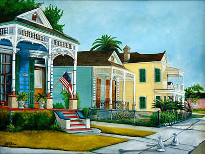 New Orleans Shotgun Houses Painting - Historic Louisiana Homes by Elaine Hodges