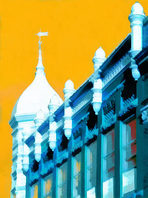 Painting - Historic Main Street In Blue And Yellow by Ann Powell