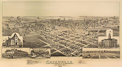 Texas Drawing - Historic Map Of Greenville Texas 1891 by Mountain Dreams
